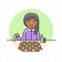 old, entertainment, chess, play, woman, plan, strategy icon
