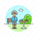 chess, old, entertainment, play, woman, park, plan, strategy icon