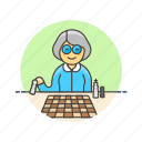 chess, old, entertainment, plan, play, woman, game, strategy icon