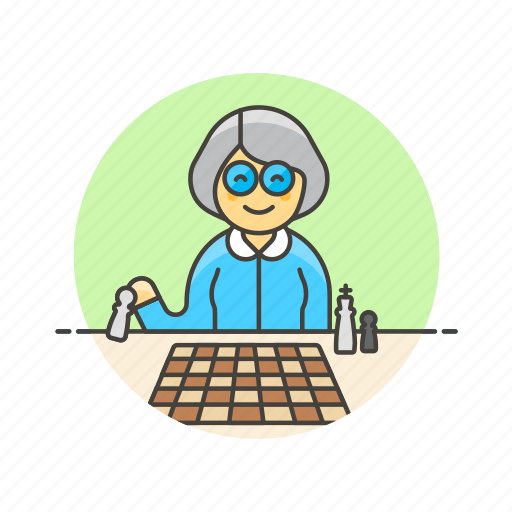 chess, entertainment, game, old, plan, play, strategy, woman icon