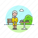 chess, entertainment, game, old, park, plan, strategy, woman icon