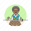 old, entertainment, chess, plan, play, man, game, strategy icon