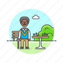 old, entertainment, chess, play, man, park, game, strategy icon
