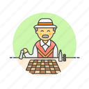 chess, old, entertainment, play, man, game, strategy icon