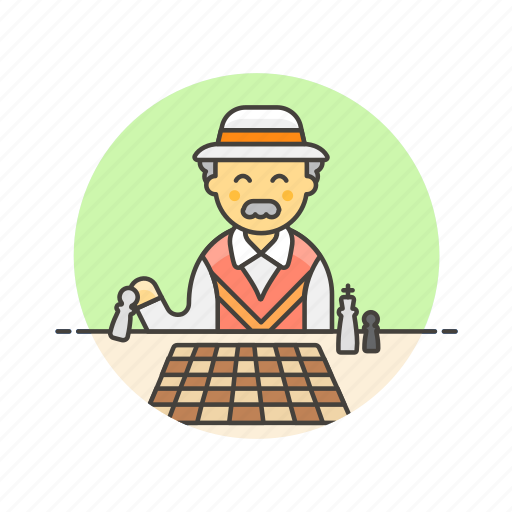 chess, entertainment, game, man, old, play, strategy icon