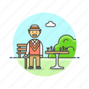 chess, entertainment, game, man, old, park, play, strategy icon