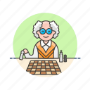 chess, entertainment, game, man, old, plan, play, strategy icon
