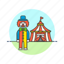 circus, entertainment, show, perform, cross, clown, dress, tent icon