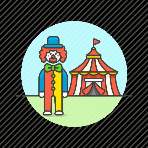 circus, clown, cross, dress, entertainment, perform, show, tent icon