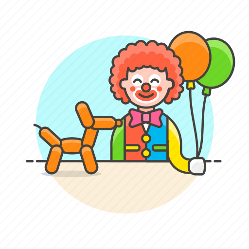 balloon, clown, cross, dress, entertainment, kid, perform, show icon