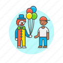 balloon, clown, cross, dress, entertainment, give, kind, show icon