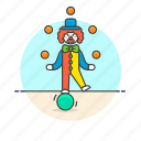 balls, clown, entertainment, juggling icon