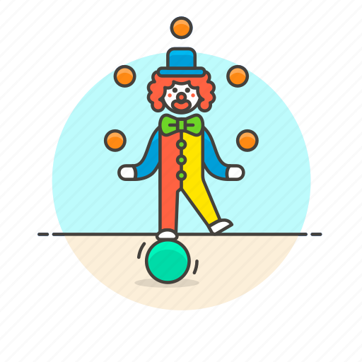balls, clown, entertainment, fun, juggle, laugh, play, suit icon