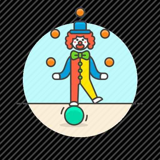 balls, clown, entertainment, fun, juggle, laugh, play, suit icon
