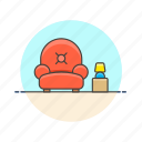 armchair, entertainment, lobby, relax, seat, sit, sofa, wait icon