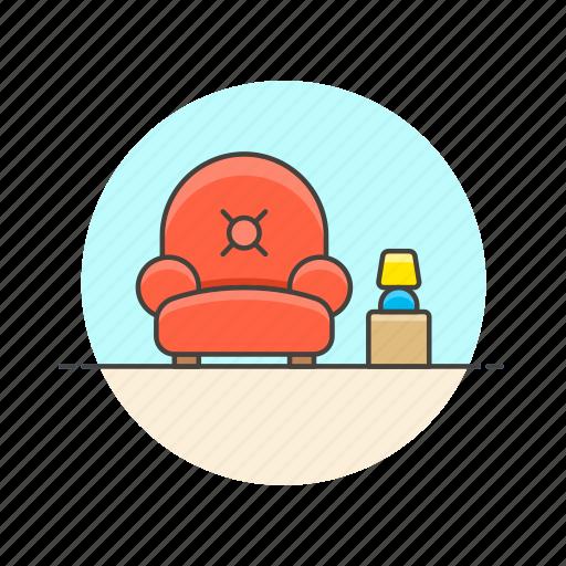 armchair, entertainment, lobby, relax, seat, sit, sofa, wait icon