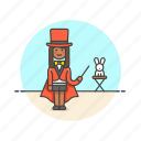 entertainment, magician, perform, rabbit, show, trick, woman icon