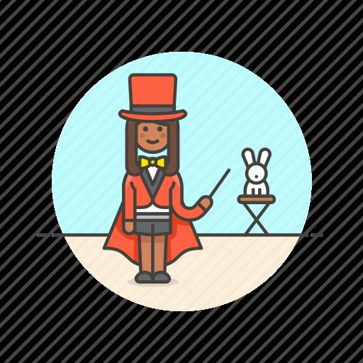 entertainment, magician, perform, rabbit, show, trick, woman icon