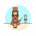 entertainment, hat, magician, perform, rabbit, trick, woman icon