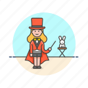 entertainment, hat, magician, rabbit, show, trick, woman icon