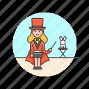 entertainment, magician, hat, rabbit, show, trick, woman