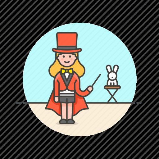 entertainment, hat, magician, rabbit, show, trick, woman icon