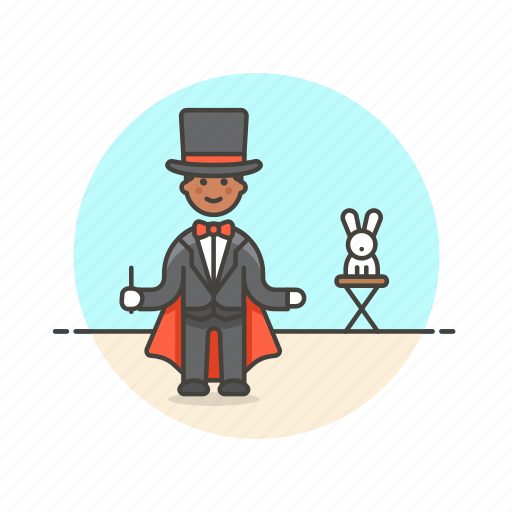 entertainment, fun, hat, magician, man, perform, rabbit, trick icon