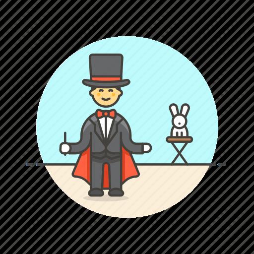 entertainment, fun, hat, magician, man, perform, rabbit, trick icon