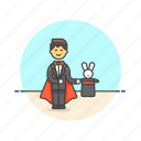 entertainment, hat, magician, man, perform, rabbit, trick icon
