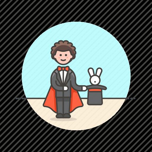 entertainment, hat, magician, man, perform, rabbit, trick icon
