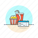 cinema, drink, entertainment, film, movie, pass, popcorn, ticket icon