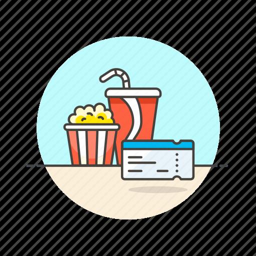 cinema, drink, entertainment, film, movie, pass, popcorn, ticket icon