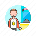 booth, buy, entertainment, man, park, play, sale, ticket icon