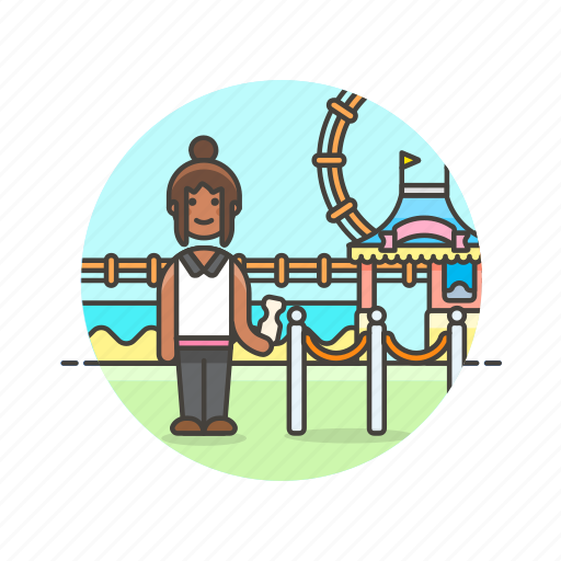 entertainment, entrance, park, play, ride, spin, ticket, woman icon