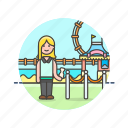 entertainment, entrance, park, pass, play, ticket, woman icon