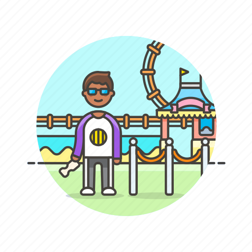 booth, entertainment, entrance, man, park, pass, play, ticket icon
