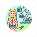 entertainment, park, play, ride, spin, ticket, wheel, woman icon