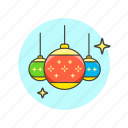 balls, celebrate, christmas, entertainment, new, shine, year icon