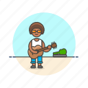 entertainment, guitarist, instrument, man, music, perform, play, street icon