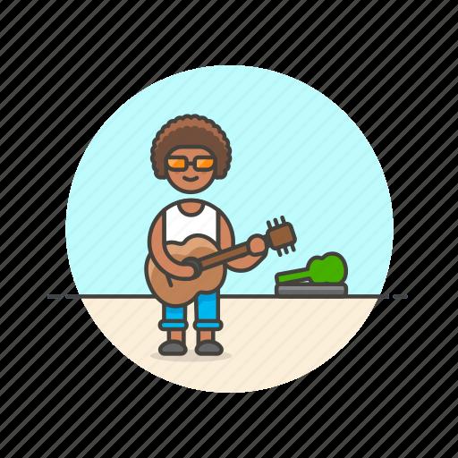 entertainment, guitarist, instrument, man, music, perform, play, street icon