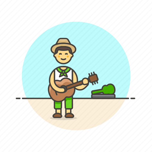 entertainment, guitarist, instrument, man, music, play, street, tip icon