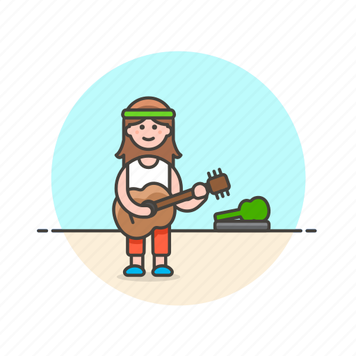 entertainment, guitarist, instrument, music, play, street, tip, woman icon