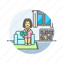 enjoy, entertainment, home, read, relax, woman, zen, zone icon