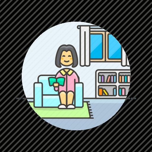 enjoy, entertainment, home, read, relax, woman, zen, zone icon