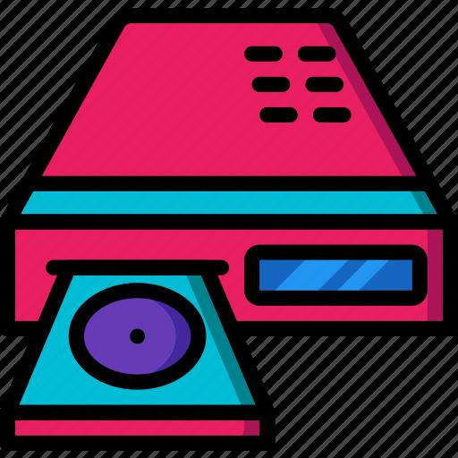 dvd, entertainment, film, movie, player icon