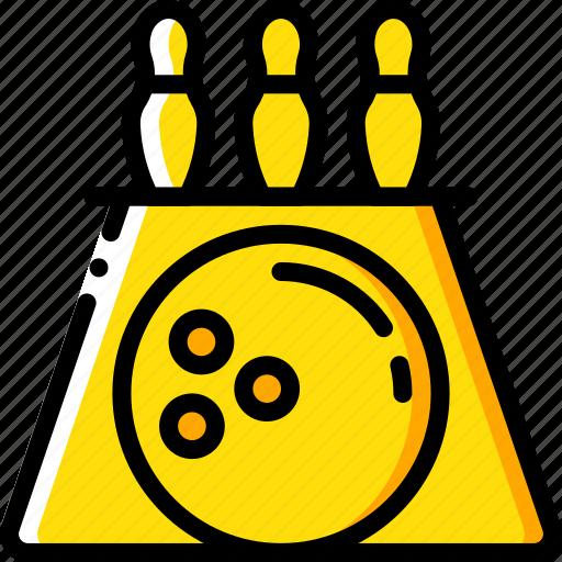 bowling, entertainment, skittles icon