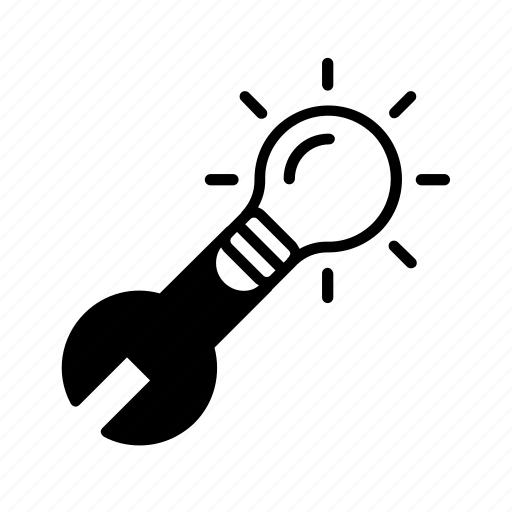development, idea, manufacture, monkey wrench, r+d icon