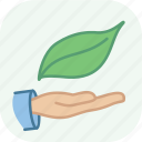 eco, ecology, environment, green, hand, leaf, nature icon