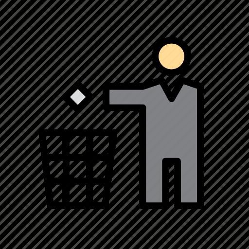 basket, bin, environmentalism, green issues, man, people, wastepaper icon