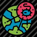 contagious, disaster, epidemic, globe, virus icon